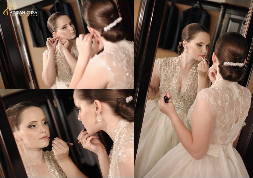 fotograf nunta Iasi, gatitul miresei, mireasa la oglinda