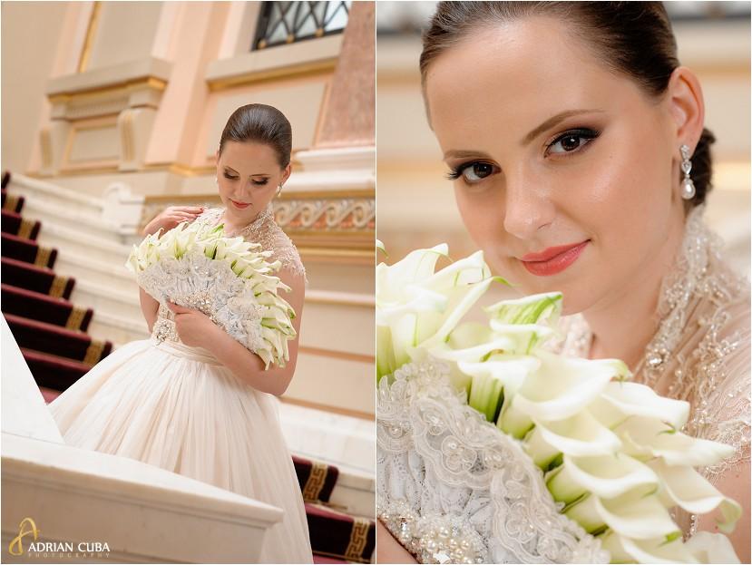 fotografie nunta Iasi, sedinta foto nunta la biblioteca Mihai Eminescu, portret mireasa