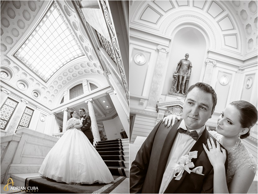 fotografie nunta iasi, sedinta foto nunta la biblioteca Mihai Eminescu, portret mire si mireasa, fotografie alb-negru
