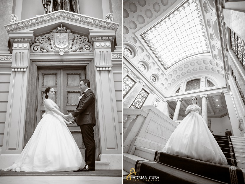 fotografie nunta iasi, sedinta foto nunta la biblioteca Mihai Eminescu, mire si mireasa, fotografie alb-negru