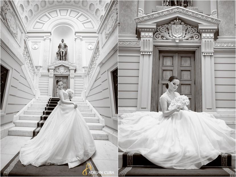 fotografie nunta Iasi, sedinta foto nunta la biblioteca Mihai eminescu, poze mireasa, foto alb-negru
