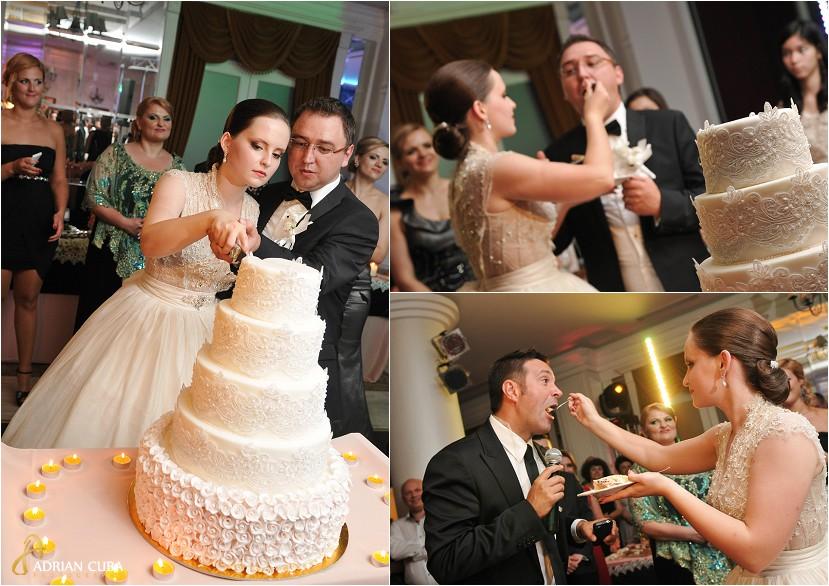 fotografie nunta Iasi, tortul miresei la restaurantul Bellaria