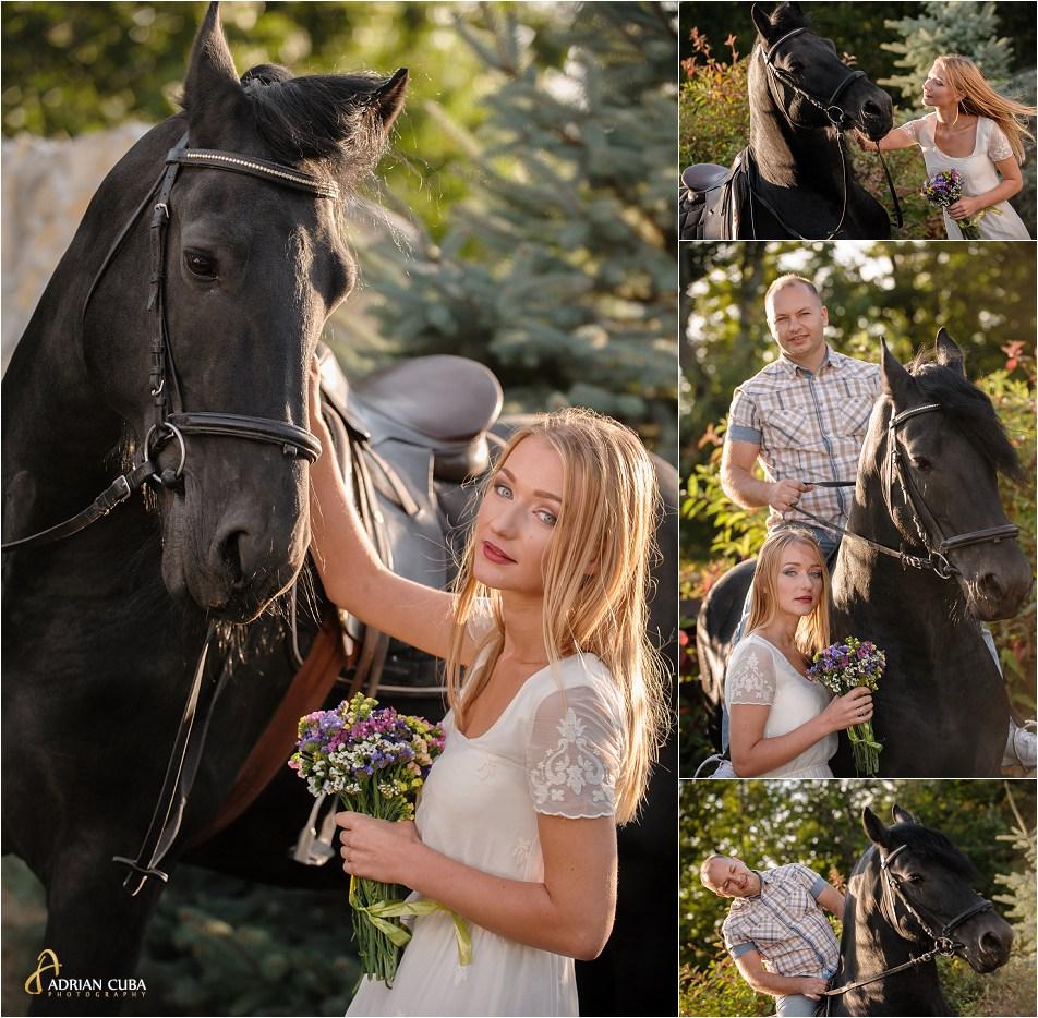 Sesiune foto logodna, la herghelie, tineri alaturi de un cal negru.