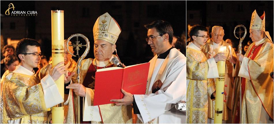 Episcopul Petru Gherghel aprinde lumanarea pascala la Liturghia Invierii