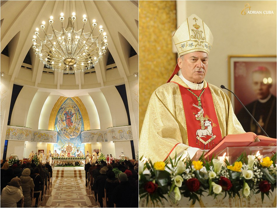 "Episcopul Petru Gherghel in catedrala catolica ""Sfanta Fecioara Maria, Regina"" din Iasi, la slujba de Paste 2015"