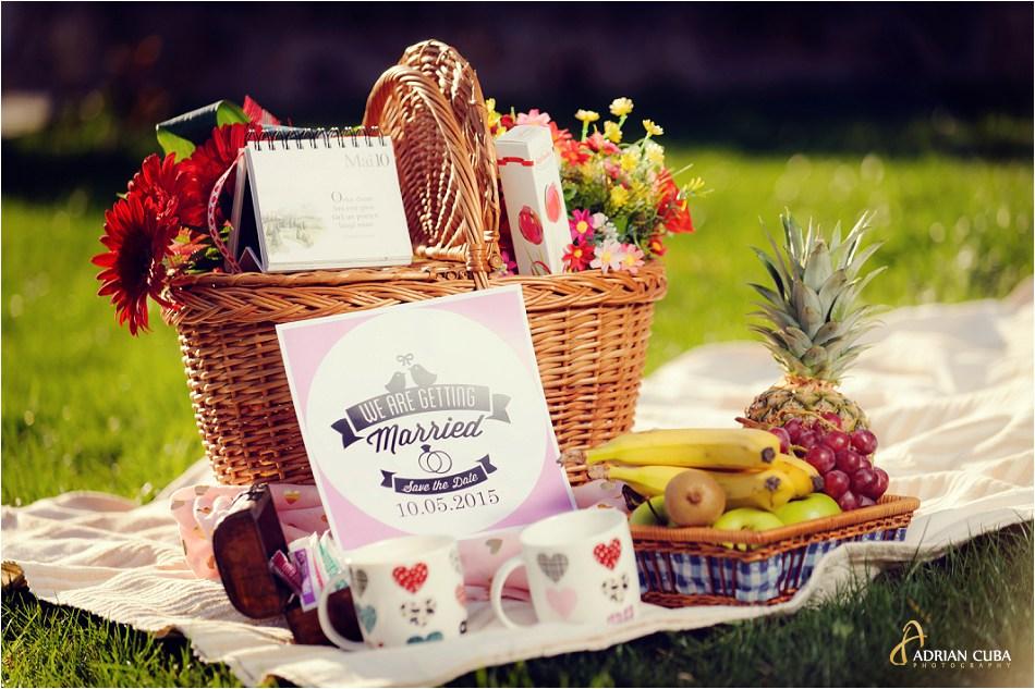 Cos de picnic la sesiune foto logodna in Iasi.