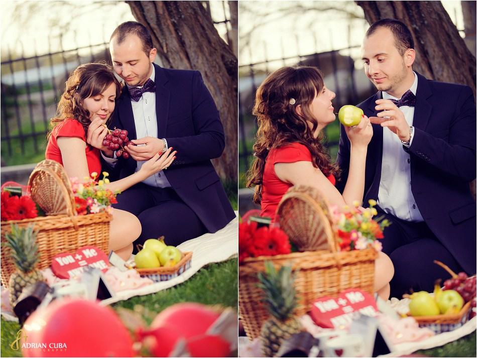 Sedinta foto logodna cu accesorii la picnic in Iasi.