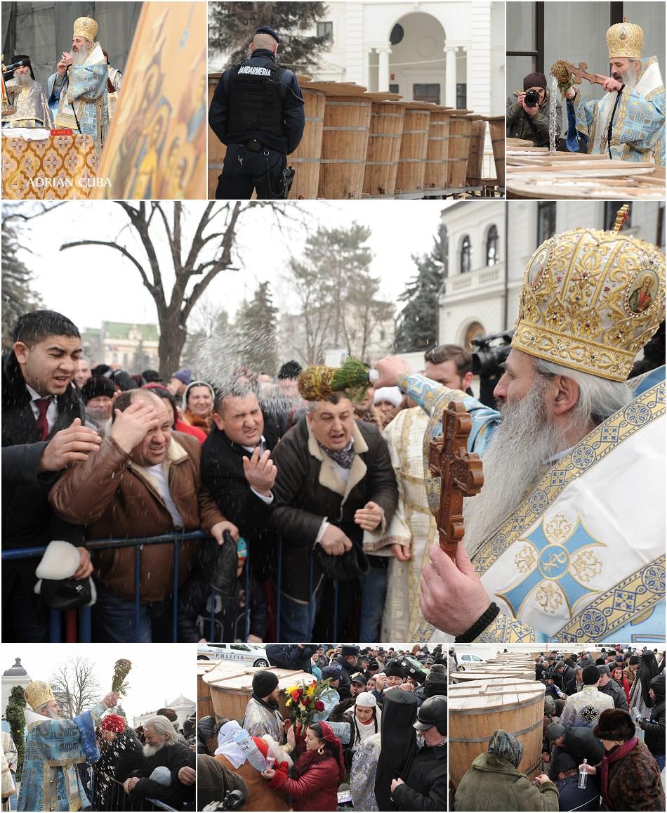 Crestinii participa la sfintirea aghiazmei de Boboteaza de catre IPS Teofan, la Mitropolia Moldovei si Bucovinei de la Iasi.