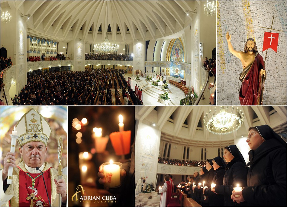 "Pastele catolic celebrat de PS Petru Gherghel la catedrala romano-catolica ""Sfanta Fecioara Maria, Regina"" din Iasi"