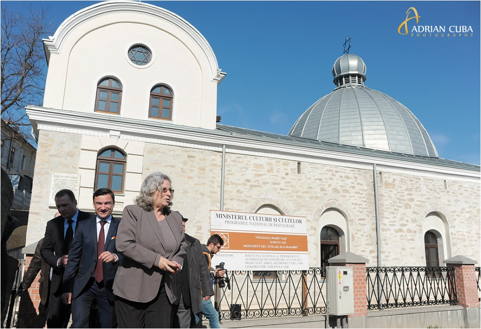 Excelenta Sa Tamar Samash, ambasadorul Israelului in Romania, viziteaza Sinagoga Mare din Iasi.