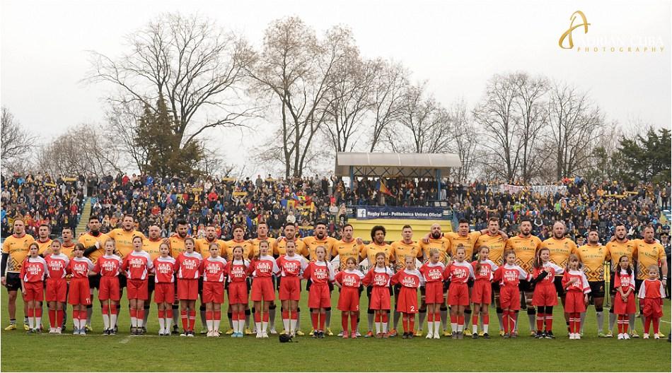 Echipa nationala de rugby a Romaniei la meciul Romania-Germania.