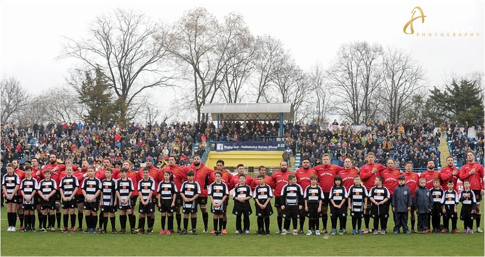 Echipa nationala de rugby a Germaniei la meciul Romania-Germania.