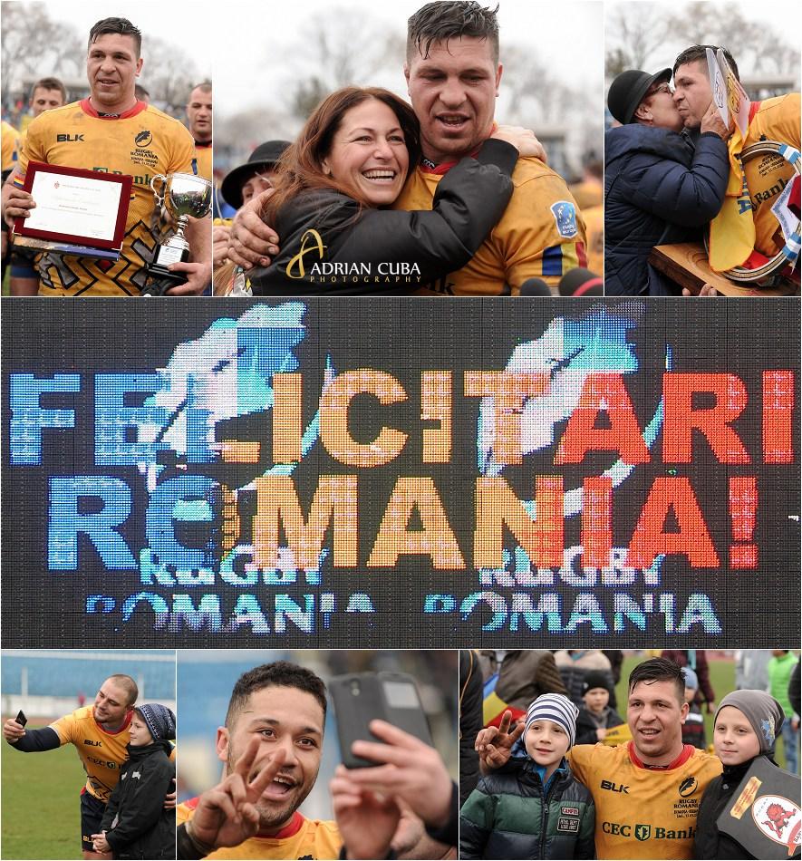 """Ovidiu Tonita la finalul meciului de rugby Romania-Germania castigat de """"Stejari"""" cu scorul de 61-7."""
